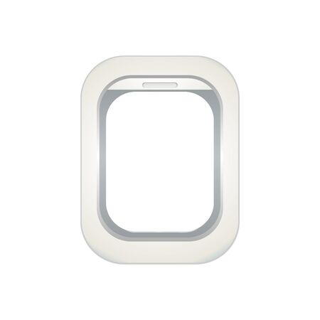 Window of airplane. Creative design of travel by plane. Interior of aircraft with your ideas of view from Porthole. Background of business voyage. Vector illustration. Stok Fotoğraf - 147256444