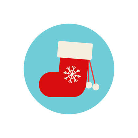 Flat style knitted Christmas stocking, sock, boot, Xmas icon, decoration element, vector illustration on white background. Cute Christmas stocking, flat style icon, decoration element 版權商用圖片 - 155605045