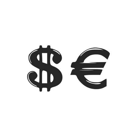 Icons of dollar sign and euro sign. Dollar Euro vector illustration on white background Vector illustration 版權商用圖片 - 164492363