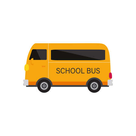 school bus isolated on white background, flat design icon back to school concept. Vector illustration 向量圖像