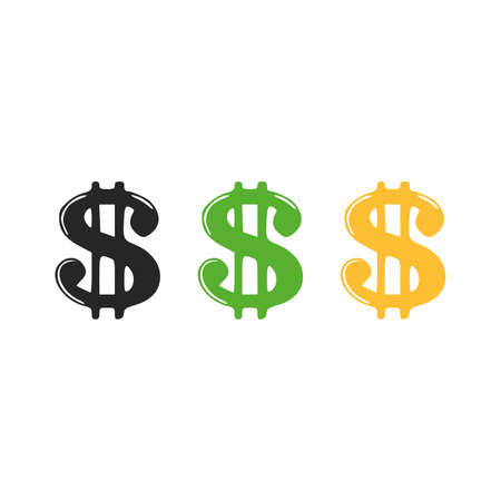 Icons of dollar sign. Dollar three colors black green yellow, vector illustration on white background 向量圖像