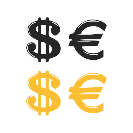 Icons of dollar sign and euro sign. Dollar Euro vector illustration on white background