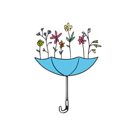 Umbrella with flowers, Spring sign on white background, blue umbrella with colored flowers Vector illustration 向量圖像