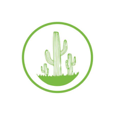 cartoon cactus label on white background, cartoon drawing style cactus vector illustration