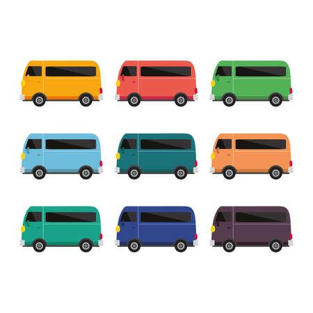 school bus vector, bus different color set of nine bus vector illustration on white background 版權商用圖片 - 163342227