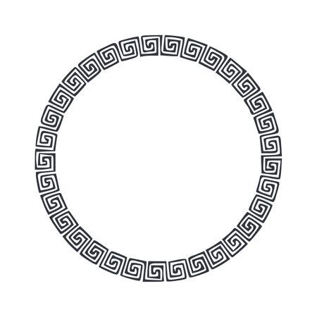 Black Rounded Corner Circle Floral Frame, Isolated On White Vector illustration 向量圖像