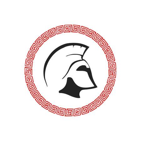 sparta warrior logo with frame on white background illustration stock