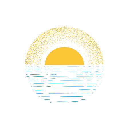 illustrations of sunset or sunrise from the sea, dotes and line blue and yellow color vector