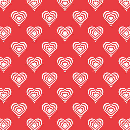 white Heart Seamless Pattern valentines day on red background beautiful heart set Vector illustration 向量圖像