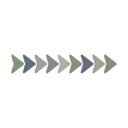 Two arrows to the right, rewind multi color icon. Simple glyph, flat vector of arrow icons for ui and ux, website or mobile application. Vector illustration