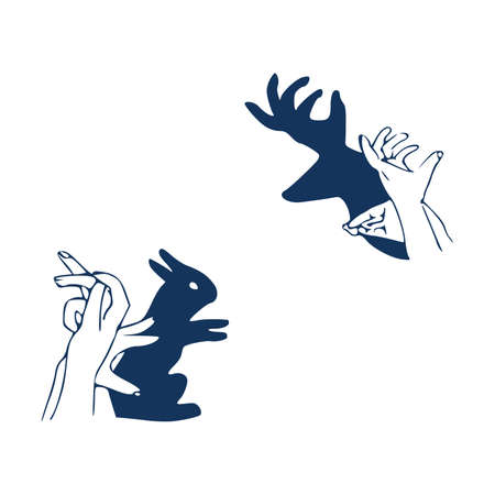 Vector illustration of a rabbit shadow theatre hand figure. Vintage hand drawn or comic book style