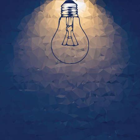 Dark BLUE vector abstract background with light bulb, idea abstract illustration with lines . shadow