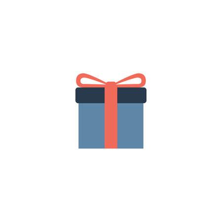 Gift box icon. Present vector illustration. Surprise symbol. flat style on white background 向量圖像