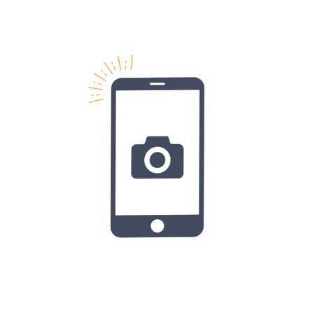 Taking photo on smart phone concept icon. photo concept design element. Vector illustration on white background
