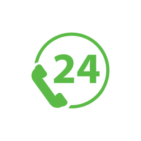 All-day customer support call-center. Flat vector icon green phone on white background