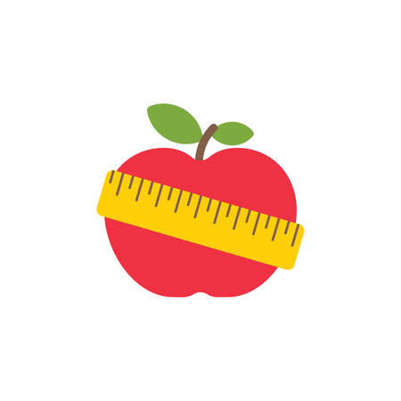 Red apple with yellow measuring tape vector Illustration on white background flat style