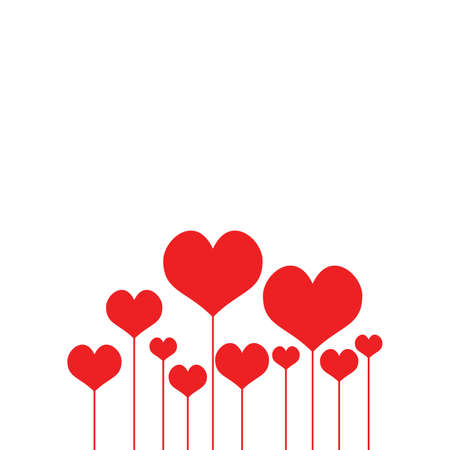 Happy Valentines Day Card. Beautiful Background with heart on white background Vector Illustration