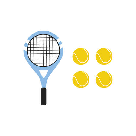 two colored tennis rackets with yellow tennis ball set on a white background vector Illustration flat style 向量圖像