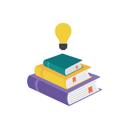Set of book icons and light bulb in flat style isolated on white background. Stack of literature. 向量圖像