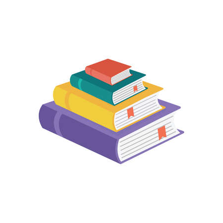 Set of book icons in flat style isolated on white background. Stack of literature. Publication, study, learning concept 向量圖像