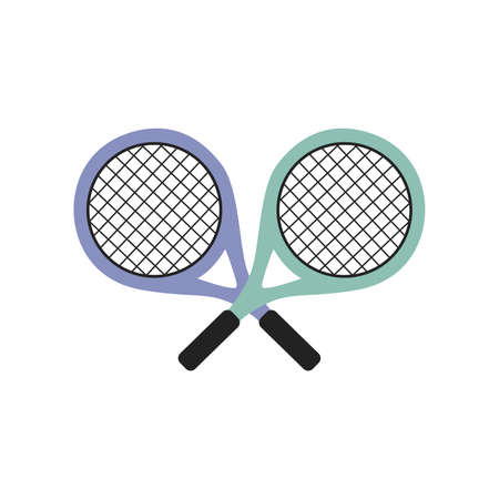 two colored tennis rackets on a white background vector Illustration flat style