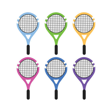 Set of colored tennis rackets on a white background vector Illustration flat style 向量圖像