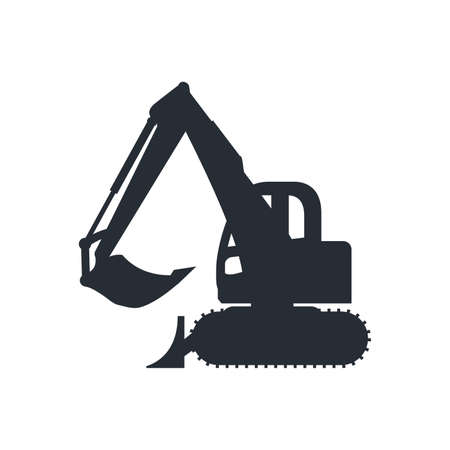 Construction car icon, build machine, vector isolated illustration, side view on white background.