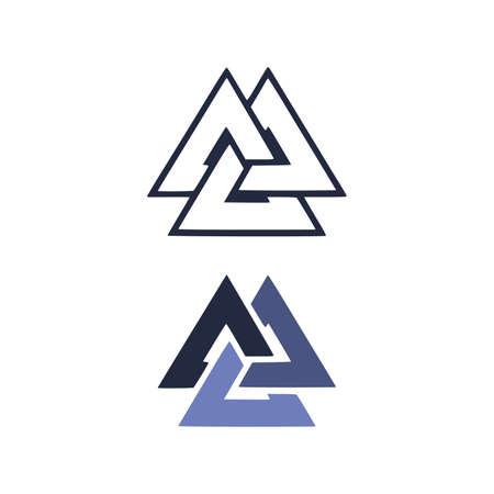 triangles, valknut. Vector illustration. Flat icon. Logo, tattoo. Vector illustration