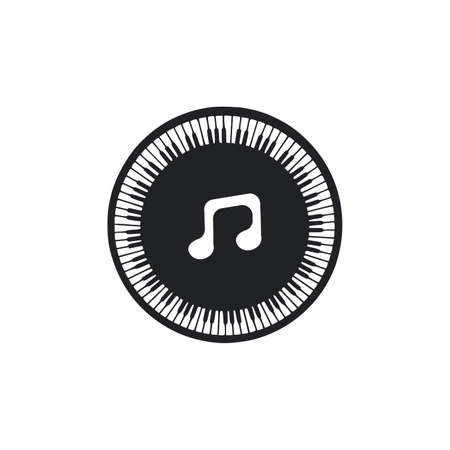 Icon piano and music notes in brush style. Hand drawn vector illustration on white background.