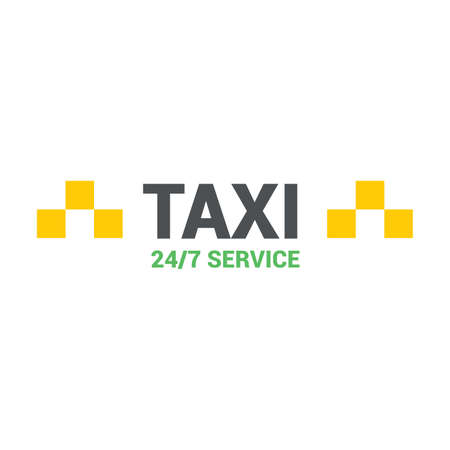 Modern yellow taxi, web template, place for text, vector illustration on white background.