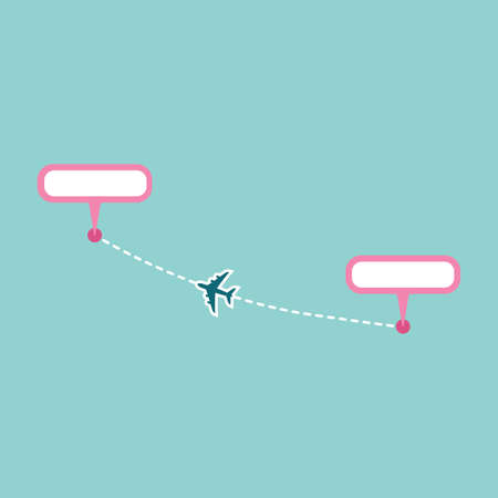 Plane track to point with dashed line way or air lines, airplane icon vector color editable