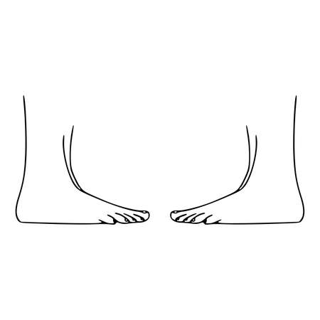 Woman's feet outline isolated on white background. Pedicure, podiatry and body care concept. Line drawing body parts. Vector illustration
