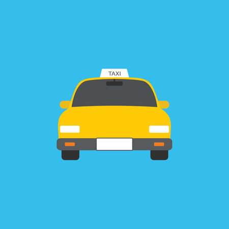 Modern yellow taxi car, web template, place for text, vector illustration on blue background.