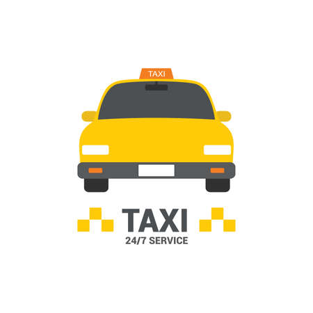 Modern yellow taxi car, web template, place for text, vector illustration on white background. Çizim