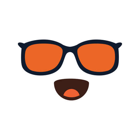 Smiling Face With Sunglasses. Doodle Emoji. Vector illustration on white background.