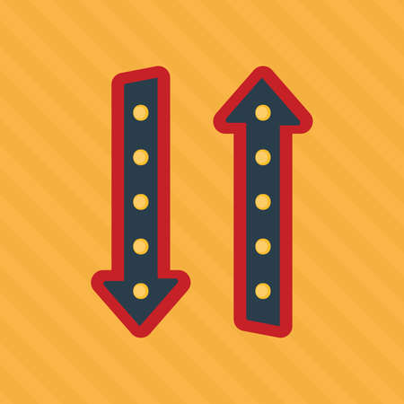 Retro sign. Glowing arrow. Red arrow pointer on a yellow background. American style. Vector illustration. Çizim