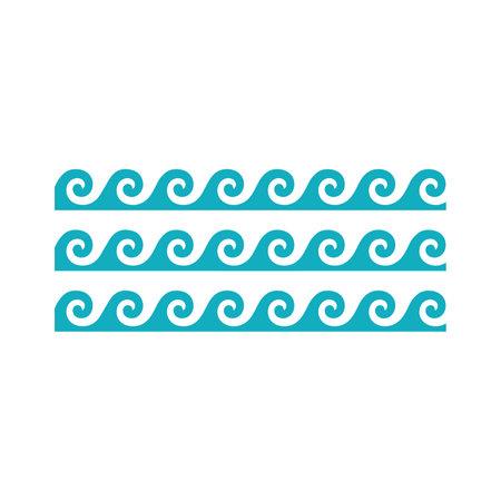 Vector blue sea waves. Water marine symbols set. Wave marine and ocean wave illustration for summer decoration. Çizim