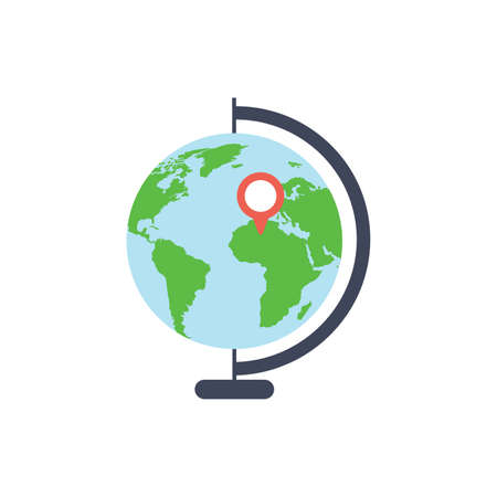 geography school earth globe web icon. vector illustration on white background earth icon flat style. Çizim