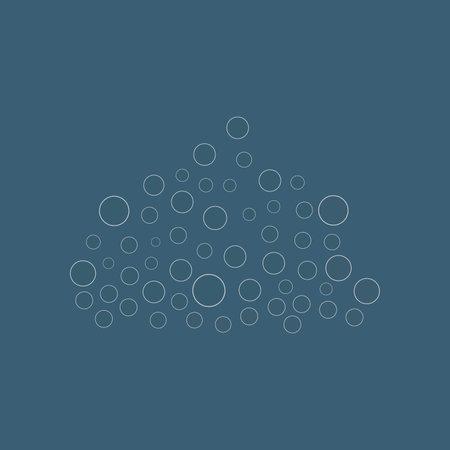 water drop isolated rain elements. Liquid blobs vector illustration on blue background line design.