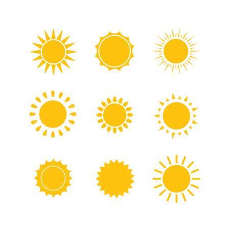 Sun icon set. Yellow sun icons collection. Summer, sunlight sky. Vector illustration isolated on white background