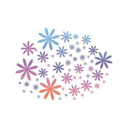Floral Pattern with Simple Small Flower gradient Style. Vector Background for Spring or Summer Design. Vector illustration Çizim