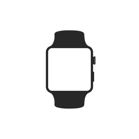 smart watch black color isolated on white background. clock stock vector illustration