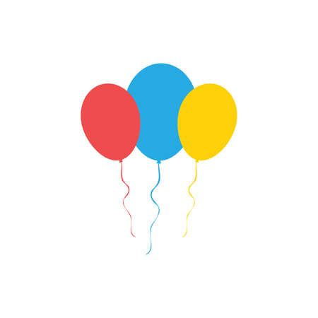 Colourful Balloons icon set isolated on white background. Vector illustration
