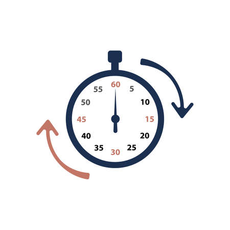 Stopwatch icon, logo. Chronometer, timer sign. Stopwatch icon isolated on white background. Vector illustration