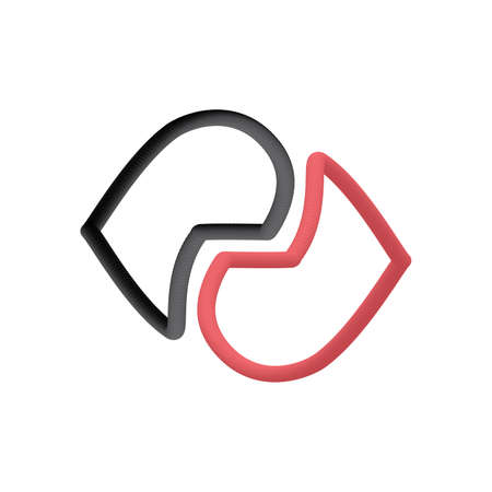 Abstract heart logo, icon and symbol vector illustration on white background red and black color Çizim