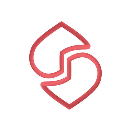 Abstract heart logo, icon and symbol vector illustration on white background red color