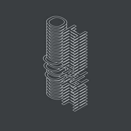 OH. Vector 3d illustration on white background line style Çizim