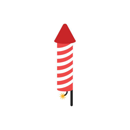 Icon of pyrotechnic equipment in the form of a rocket. fireworks icon on white background