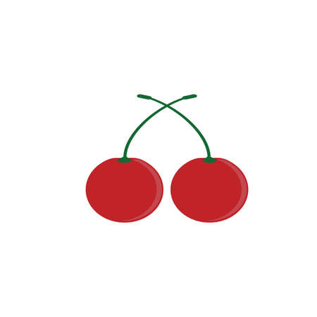Cherry icon. Vector concept illustration for design. red color on white background