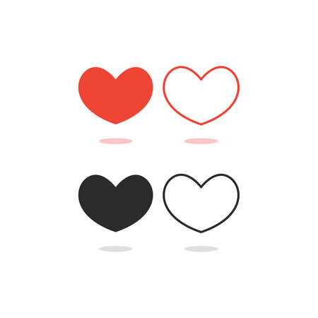 hearts icon set with shadow on white background flat and line style vector illustration